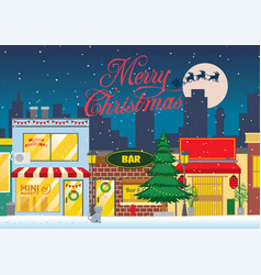 Shopping street at the christmas winter night vector