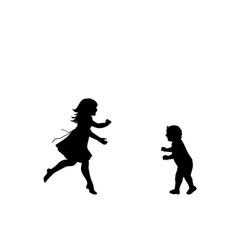 silhouette happy girl running meet little vector image