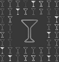 Silver line drink icon design set vector image