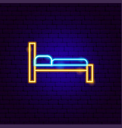 small bed neon sign vector image