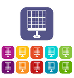 Solar panel icons set flat vector
