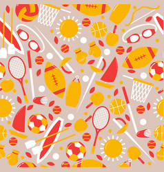 sporty seamless pattern banner with ball sun vector image