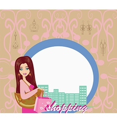 Stylish girl shopping abstract card vector image