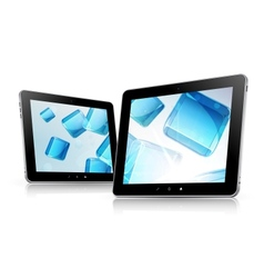 Tablet computer set abstract background vector