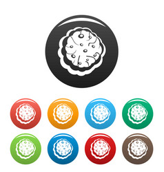 tasty cream icons set color vector image