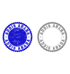 Textured addis ababa grunge stamp seals with vector