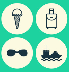 tourism icons set collection of trip handbag vector image
