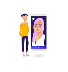 Video call chat conference concept with young vector