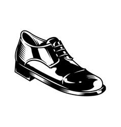 vintage monochrome men leather shoe concept vector image