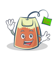 Waving tea bag character cartoon vector