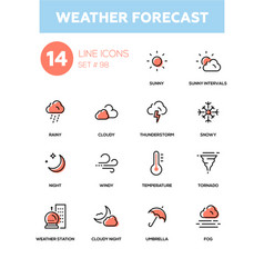Weather forecast - modern line design icons set vector
