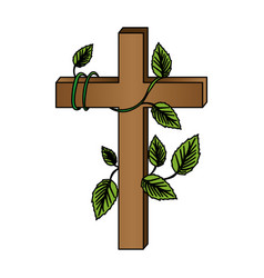 white background with colorful wooden cross and vector image