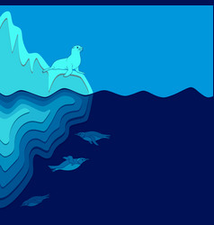 with iceberg fur seal and penguins vector image