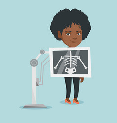 Young african woman during x ray procedure vector