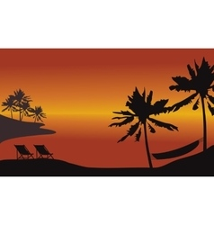 At afternoon beach scnery silhouette vector image vector image