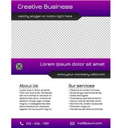 Business multipurpose flyer template - purple vector image