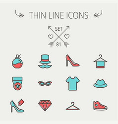 Business shopping thin line icon set vector