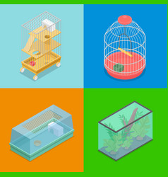 isometric pet carriers with aquarium vector image