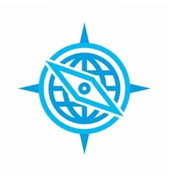 logo combination of a compass and earth vector image