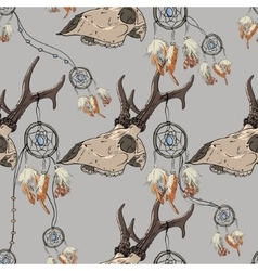 Seamless pattern with deer skull and dreamcatcher vector image vector image