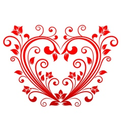 valentine heart floral vector image vector image