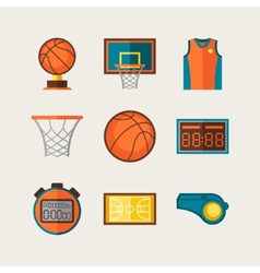 Basketball icon set in flat design style vector image