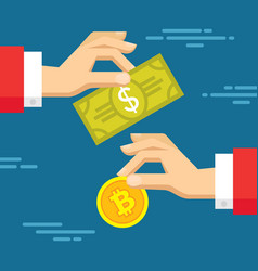 exchange of digital currency bitcoin and dollar vector image