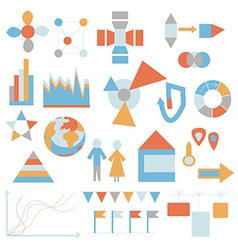 Flat icons set - infografic data vector image vector image