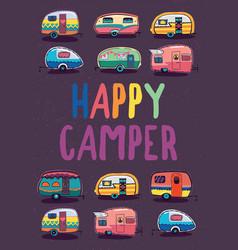 happy camper trailer banner vector image
