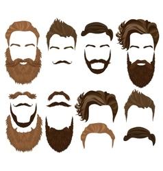 Man hair mustache and beard collection Men vector image vector image