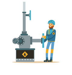oilman working on an oil pipeline oil industry vector image vector image