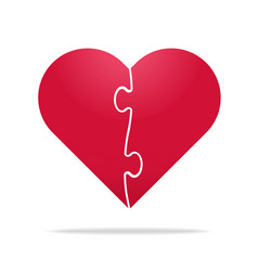 puzzle heart divided in two parts - relationship vector image