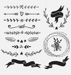 Set of hand drawn floral frames and dividers vector
