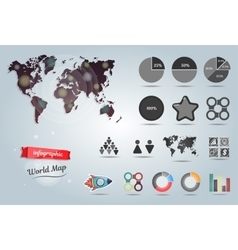 World map infographic template Set of vector image