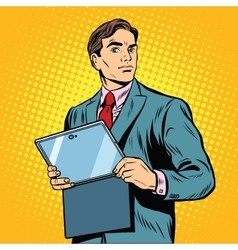 Businessman with laptop or tablet vector image