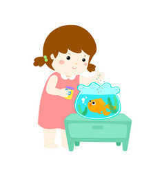 Cute little girl feeding fish in aquarium cartoon vector