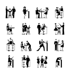 Drinking People Set Black And White vector image