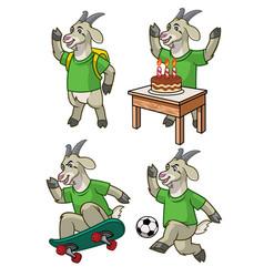 goat cartoon set vector image
