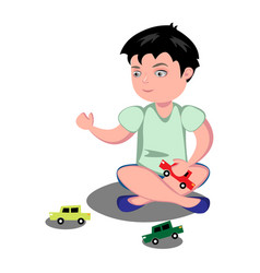 young boy playing toy cars vector image vector image