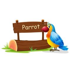 A colorful bird near a signboard vector image vector image