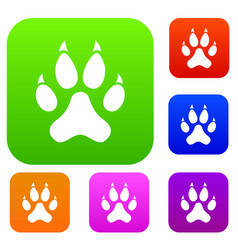 cat paw set color collection vector image vector image