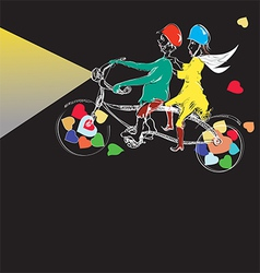 couple cycling vector image