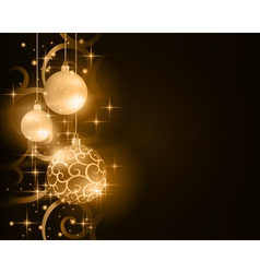 Dark golden Christmas balls with stars and vector image vector image