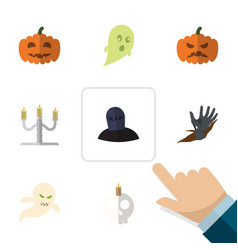flat icon celebrate set of pumpkin candlestick vector image