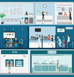 people in a bank interior vector image vector image