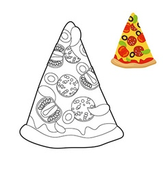 Pizza coloring book Delicious slice of pizza in vector image vector image