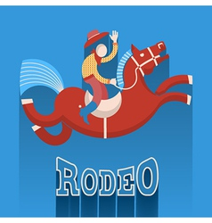 Rodeo posterCowboy on horse vector image