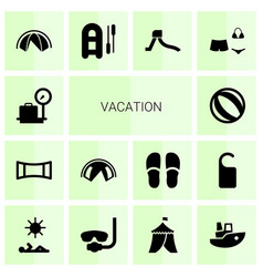 14 vacation icons vector
