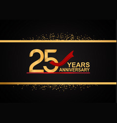 25 years anniversary logotype with golden color vector