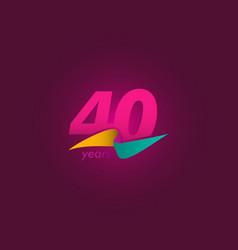 40 years anniversary celebration purple ribbon vector